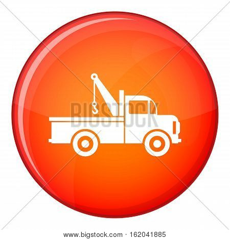 Car towing truck icon in red circle isolated on white background vector illustration