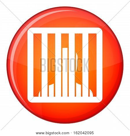 Man behind jail bars icon in red circle isolated on white background vector illustration