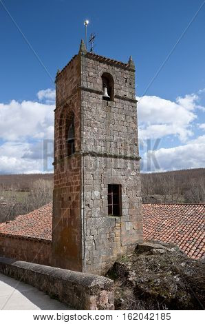 Bell tower of San Millan de Lara Church Burgos Province Spain. It was building on 1165 in Romanesque style