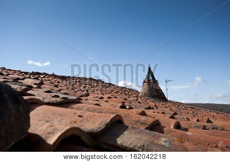 Traditional tiled roof in San Millan de Lara Burgos Province Spain.