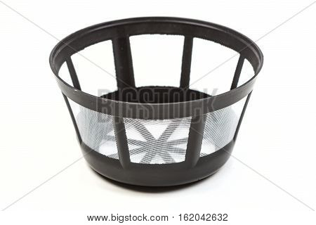 Empty Reusable Coffee Filter Isolated On White Background