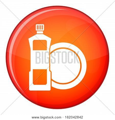 Dishwashing liquid detergent and dish icon in red circle isolated on white background vector illustration