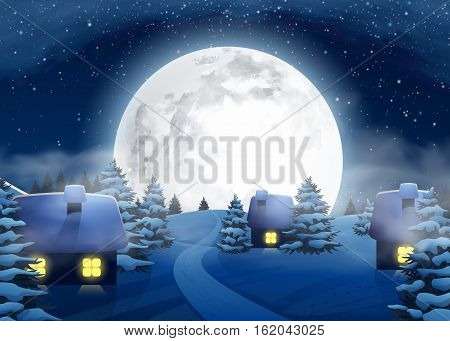 Christmas Winter Big Full Moon Night Landscape with Small Houses for Postcard Website Graphic Congratulation Printed Material. Happy New Year 2017. Vector Illustration Background in Cartoon Style.