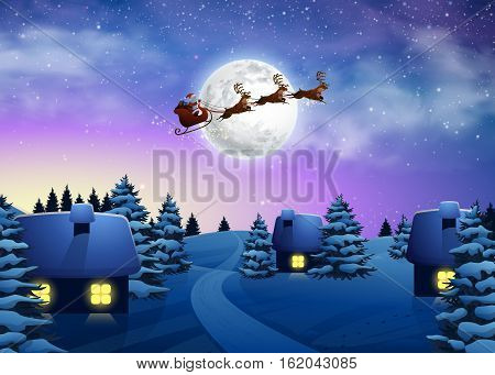 Christmas houses in snowfall night full moon. Beautiful Fir Tree Winter Village Xmas. Santa Claus Flying on a Sleigh with Deer. Vector Illustration Background in Cartoon Style.
