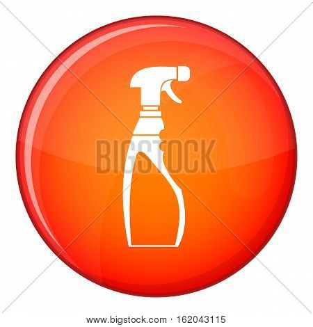 Sprayer bottle icon in red circle isolated on white background vector illustration
