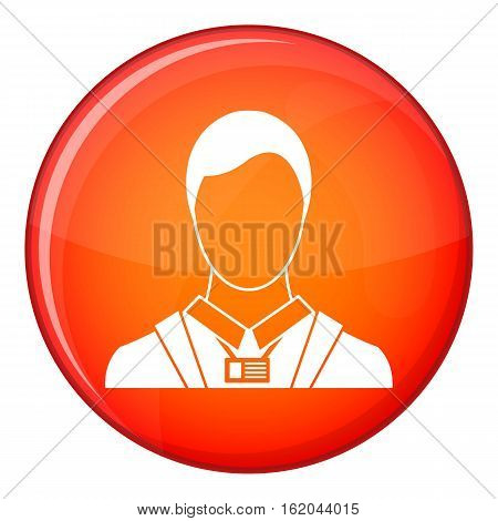 Businessman with identity name card icon in red circle isolated on white background vector illustration