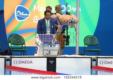 RIO DE JANEIRO, BRAZIL - AUGUST 8, 2016: Olympic champion Michael Phelps of United States competes at the Men's 200m butterfly semifinal at Rio 2016 Olympic Games at the Olympic Aquatics Stadium