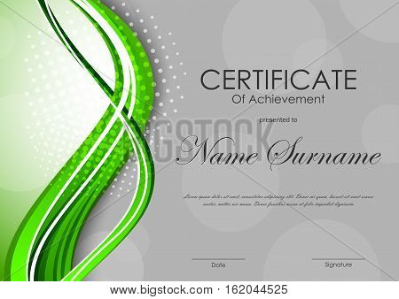 Certificate of achievement template with gray transparent circles pattern and digital dynamic green wavy background. Vector illustration