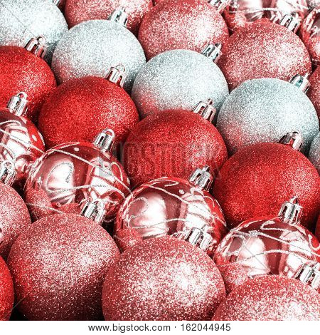 Brilliant Lustrous Silver Red Scarlet Color Balls
