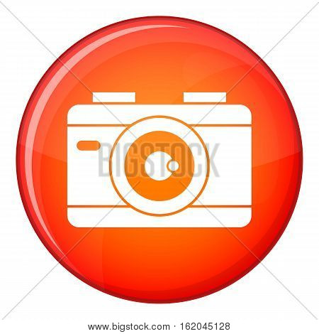 Photo camera icon in red circle isolated on white background vector illustration