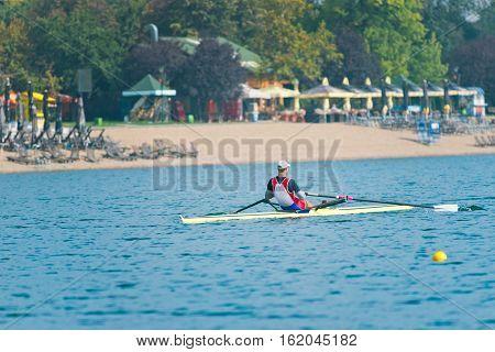 Sport rowing, toned image, horizontal image, outdoors