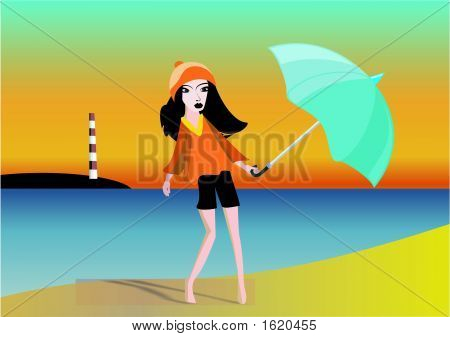 Glamour Girl Walking On The Beach In Evening