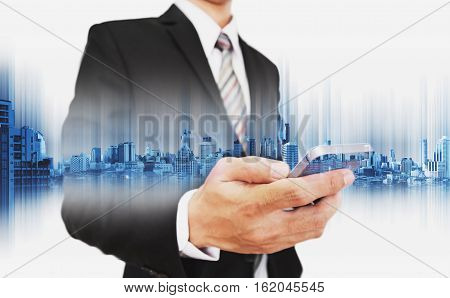 Businessman using smartphone, with double exposure city, business communication technology concepts