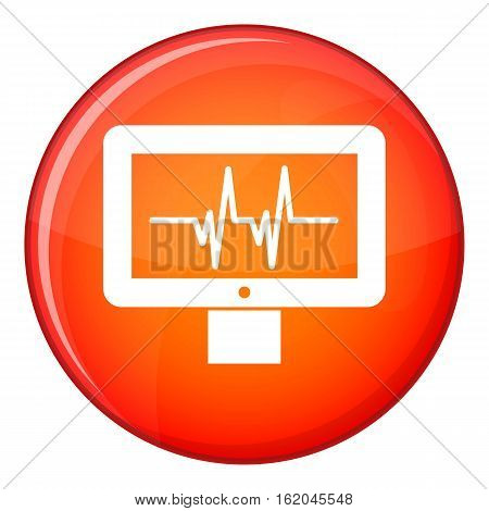 Electrocardiogram monitor icon in red circle isolated on white background vector illustration