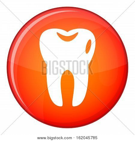 Tooth icon in red circle isolated on white background vector illustration
