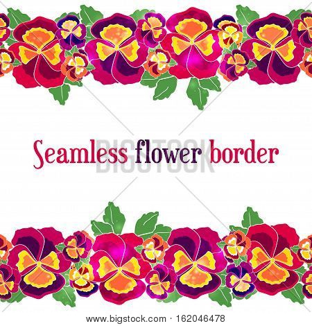 Vector seamless floral border. Design for wedding invitation, flower shop and beauty salons. Bright pansies on a white background