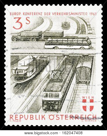 AUSTRIA - CIRCA 1961 : Cancelled postage stamp printed by Austria, that shows Transportation.