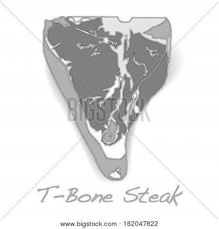 raw T-bone image isolated on white background.