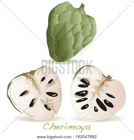 Custard apple or cherimoya image isolated on white background.
