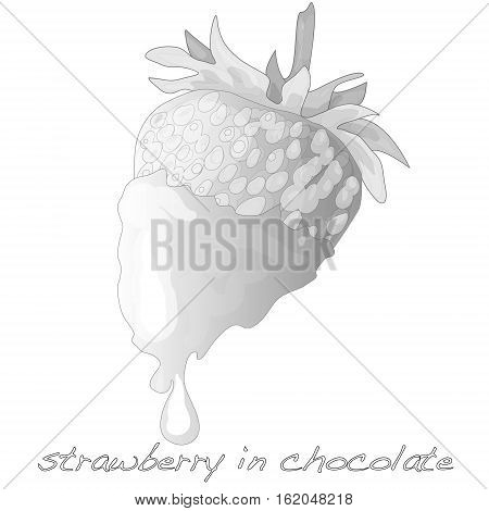 strawberry dipped in chocolate fondue isolated .