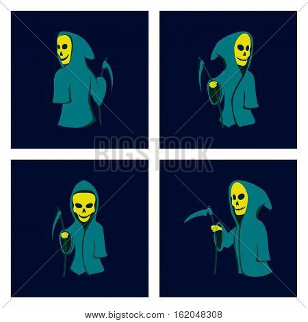 assembly of flat illustration halloween death scythe