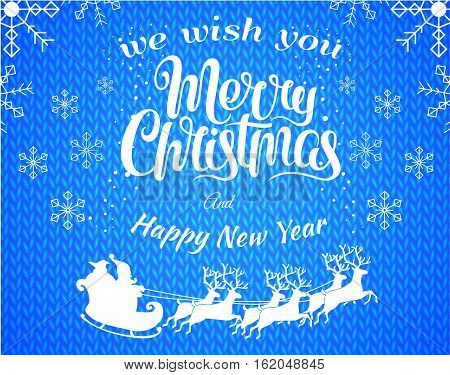 Red vector christmas illustation background with Santa Claus silhouette riding a sleigh with deers. Merry christmass poster. Happy New Year banner with white snowflakes. Vector illustration.
