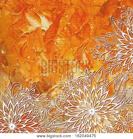 Floral Pattern, Symbolic Flowers and Leafs, Abstract Outline Ornament, White Contours on Colorful Hand-Draw Oil Paint Painting Background