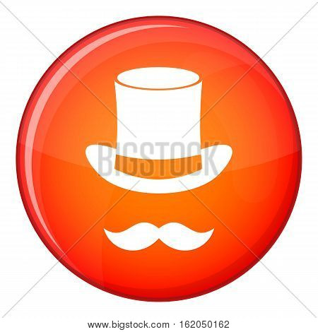 Magic black hat and mustache icon in red circle isolated on white background vector illustration