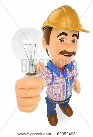 3d working people illustration. Electrician with a light bulb. Isolated white background.