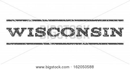Wisconsin watermark stamp. Text caption between horizontal parallel lines with grunge design style. Rubber seal stamp with unclean texture. Vector gray color ink imprint on a white background.
