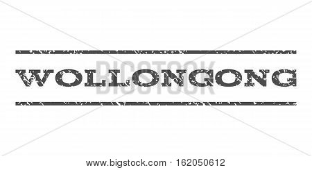 Wollongong watermark stamp. Text caption between horizontal parallel lines with grunge design style. Rubber seal stamp with dirty texture. Vector gray color ink imprint on a white background.