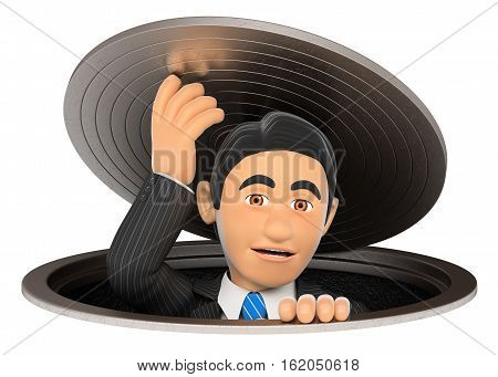 3d business people illustration. Businessman leaving a sewer. Metaphor. Isolated white background.