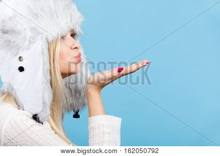 Woman Wearing Winter Furry Warm Hat