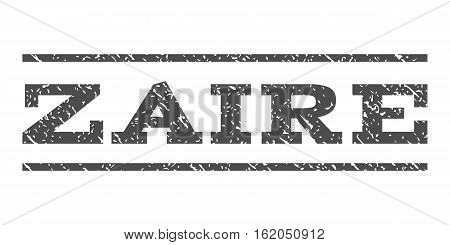 Zaire watermark stamp. Text tag between horizontal parallel lines with grunge design style. Rubber seal stamp with scratched texture. Vector gray color ink imprint on a white background.