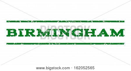 Birmingham watermark stamp. Text tag between horizontal parallel lines with grunge design style. Rubber seal stamp with scratched texture. Vector green color ink imprint on a white background.