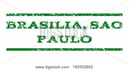 Brasilia, Sao Paulo watermark stamp. Text tag between horizontal parallel lines with grunge design style. Rubber seal stamp with scratched texture.