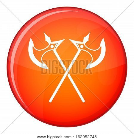 Crossed battle axes icon in red circle isolated on white background vector illustration