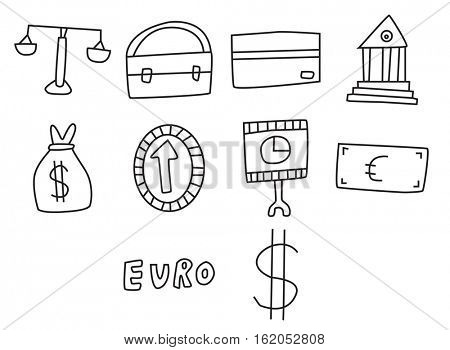 Vector icon set for banking and law against white background