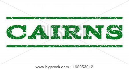 Cairns watermark stamp. Text caption between horizontal parallel lines with grunge design style. Rubber seal stamp with scratched texture. Vector green color ink imprint on a white background.