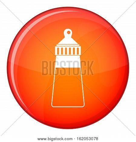 Baby milk bottle icon in red circle isolated on white background vector illustration