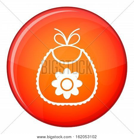 Baby bib icon in red circle isolated on white background vector illustration