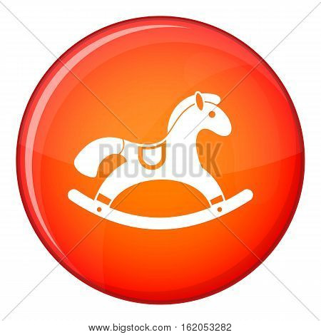 Rocking horse icon in red circle isolated on white background vector illustration