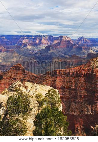 Wonderful View Of Rock Formation On The South Rim Of The Grand Canyon National Park, Arizona, United