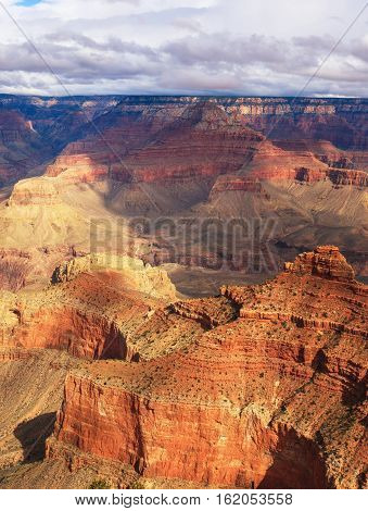 Gorgeous View Of Rock Formation On The South Rim Of The Grand Canyon National Park, Arizona, United