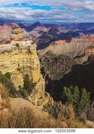 Beautiful View Of Rock Formation On The South Rim Of The Grand Canyon National Park, Arizona, United
