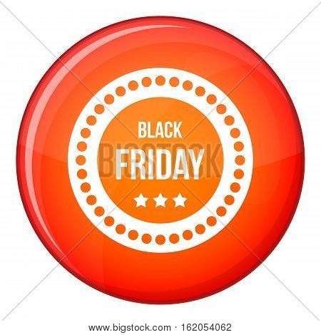Black Friday sticker icon in red circle isolated on white background vector illustration