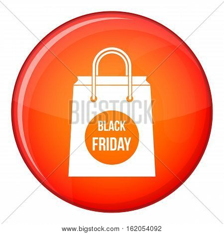 Black Friday shopping bag icon in red circle isolated on white background vector illustration