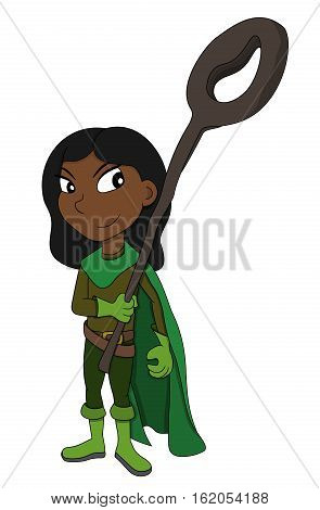 Illustration of a cute fantasy girl holding a wizard staff isolated on a white background