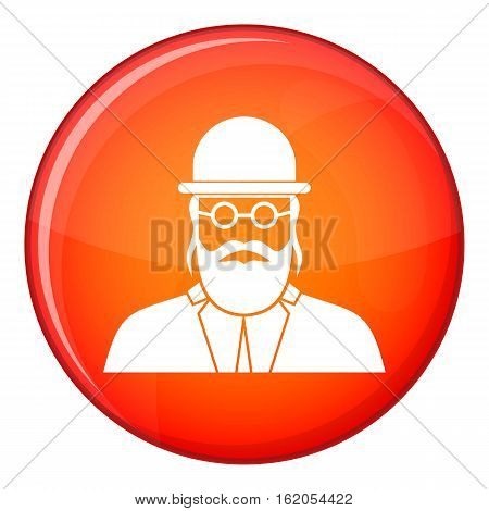 Orthodox jew icon in red circle isolated on white background vector illustration