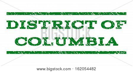 District Of Columbia watermark stamp. Text tag between horizontal parallel lines with grunge design style. Rubber seal stamp with scratched texture.